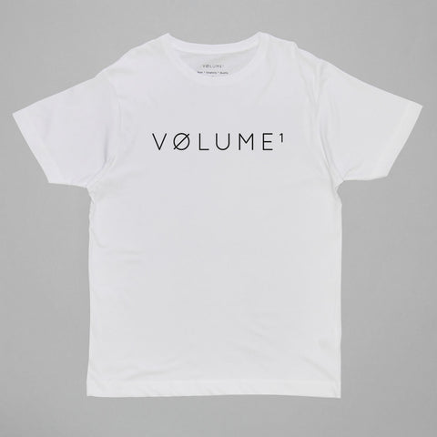 Volume One White Logo Tee