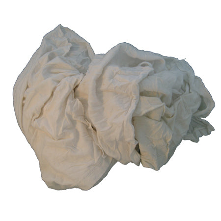 All White Recycled T Shirt Rags, Bulk Pack