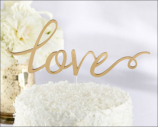 Love Wedding Cake Topper In Gold Acrylic