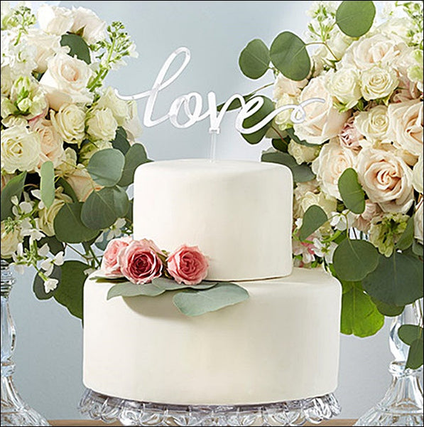 Love Wedding Cake Topper In Silver Mirror