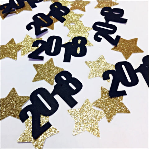 2018 Graduation Party Confetti With Gold Glitter Stars