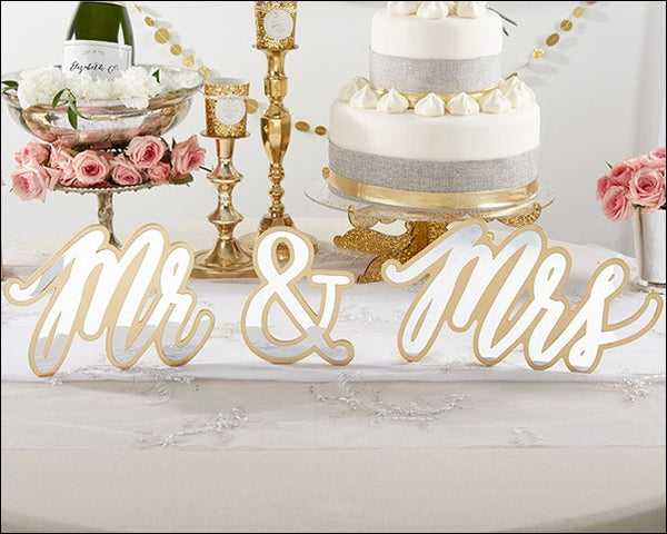 Gold And Silver Mirror Mr And Mrs Sweetheart Table Sign