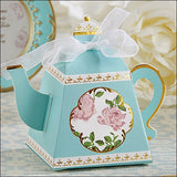 Teapot Shaped Party Favor Boxes In Aqua, Pink And Gold Set Of 24
