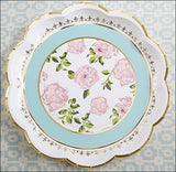 Tea Party Paper Plates In Aqua, Gold And Pink Flowers Set of 8