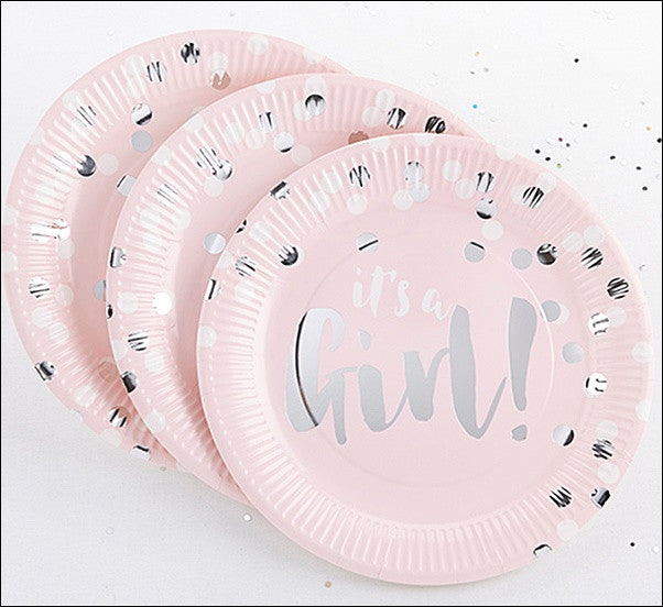 Pink And Silver Foil Paper Plates Set of 48  sc 1 st  Jaclyn Peters Party & Itu0027s A Girl! Pink And Silver Foil Paper Plates Set of 48 u2013 Jaclyn ...