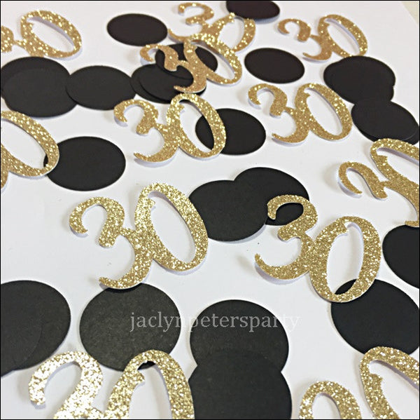30th Birthday Party Confetti Black And Gold Glitter