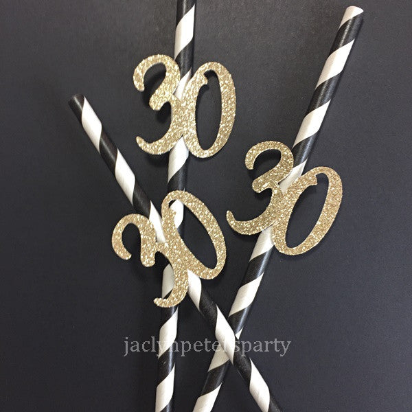 30th Birthday Party Straws Gold Glitter And Black Stripes Set of 12