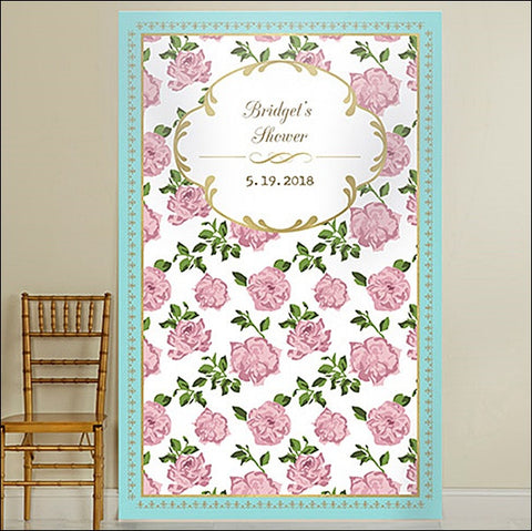 Tea Party Aqua And Pink Roses Personalized Photo Backdrop