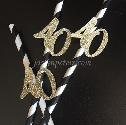 40th Birthday Party Straws Gold Glitter And Black Stripes Set of 12