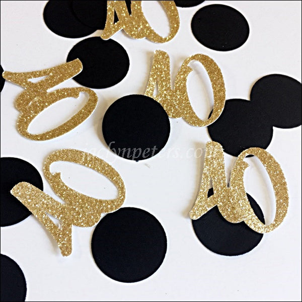 40th Birthday Party Confetti Black And Gold Glitter
