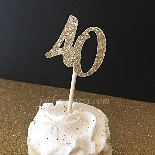 40th Birthday Party Gold Glitter Cupcake Toppers
