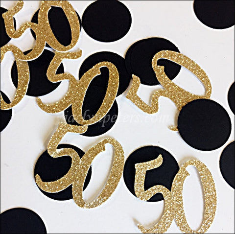 50th Birthday Or Anniversary Party Confetti Black And Gold Glitter
