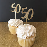 50th Birthday Party Gold Glitter Cupcake Toppers