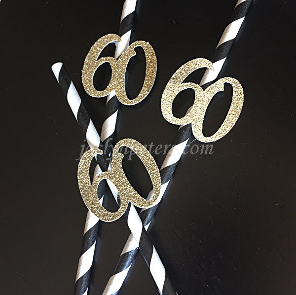 60th Birthday Party Straws Gold Glitter And Black Stripes Set of 12