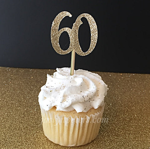 60th Birthday Party Gold Glitter Cupcake Toppers