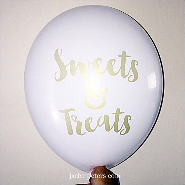 White & Gold Sweets Balloons Set Of 3 - Jaclyn Peters Designs - 1