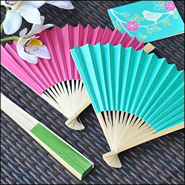 Colorful Wedding Paper Fans Choice Of Colors Set Of 12