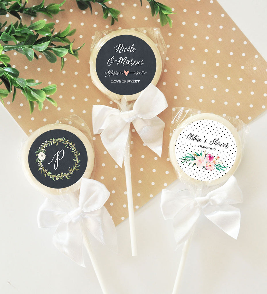 Personalized Boho Chic Wedding Lollipop Favors With Bow Set Of 12