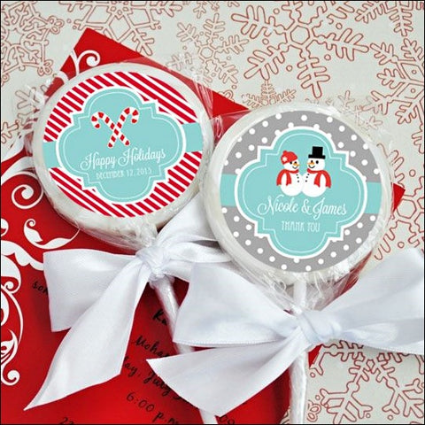 Personalized Christmas Holiday Lollipop Favors Set of 12