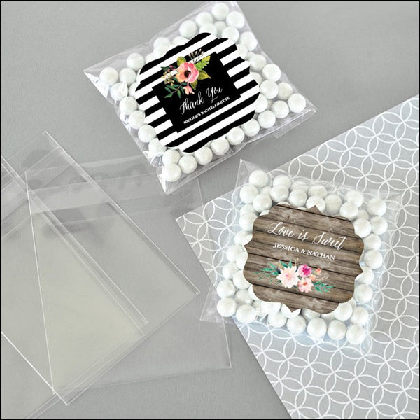 Personalized Boho Chic Clear Candy Bags Set of 24