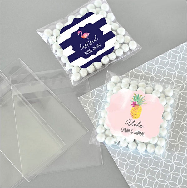 Tropical Beach Theme Personalized Clear Candy Bags