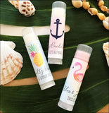 Personalized Tropical Beach Theme Lip Balm Favors Set Of 12