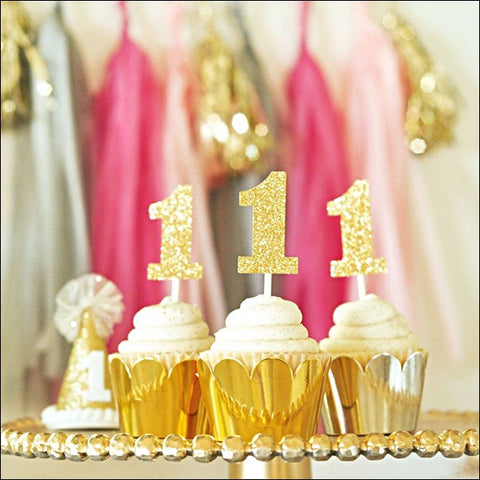Birthday Age Number Cupcake Decorating Kit - Silver Or Gold - Set Of 24