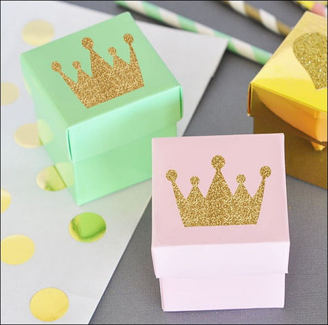 Princess Gold Glitter Tiara Favor Box Kit In Choice Of Color Set Of 24