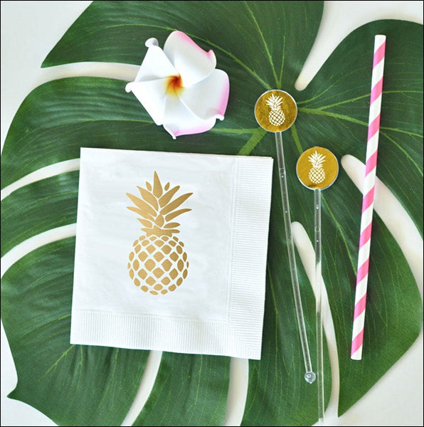 Gold Foil Pineapple Party Napkins Set Of 50