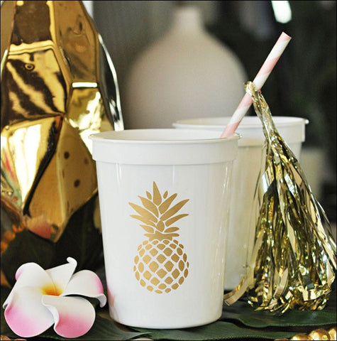 Gold Pineapple White Party Cups Set of 25