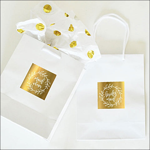 Boho Gold Wreath Bridal Party Gift Bags Set Of 6