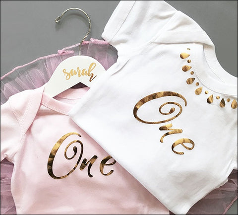 Girls First Birthday Gold Foil One Bodysuit