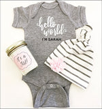 Personalized Hello World I'm New Here Baby Bodysuit