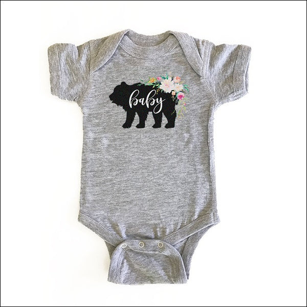 Girls Rustic Baby Bear Floral Bodysuit