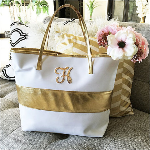 Gold Stripe Tote Bag With Sequin Initial