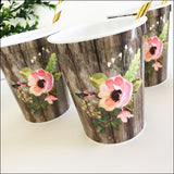 Boho Floral And Woodgrain Heavyweight Party Cups Set of 50