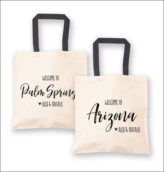 Personalized State Wedding Welcome Tote Bags Set Of 6
