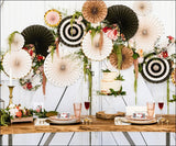 Boho Chic Floral And Stripes Paper Party Fans Set Of 8