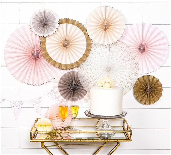 Blush Pink, Cream And Gold Glitter Paper Party Fans Set Of 8