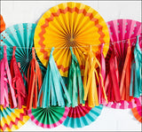 Tropical Theme Rainbow Party Tissue Tassel Garland Set Of 12