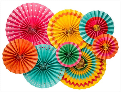 Colorful Tropical Theme Paper Party Fans Set Of 8