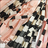 Blush Pink, Cream And Black Stripes Party Tassel Garland Set Of 12