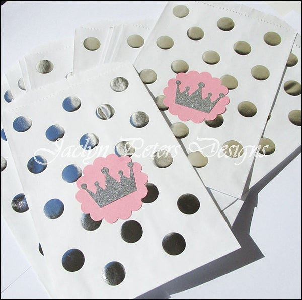 Princess Pink And Silver Glitter Crown Treat Bags - Jaclyn Peters Designs - 1