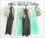 Mint Green, Black & White Party Tassel Garland Kit - Jaclyn Peters Designs - 1
