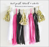 Hot Pink Black & Gold Party Tassel Garland Kit - Jaclyn Peters Designs - 1