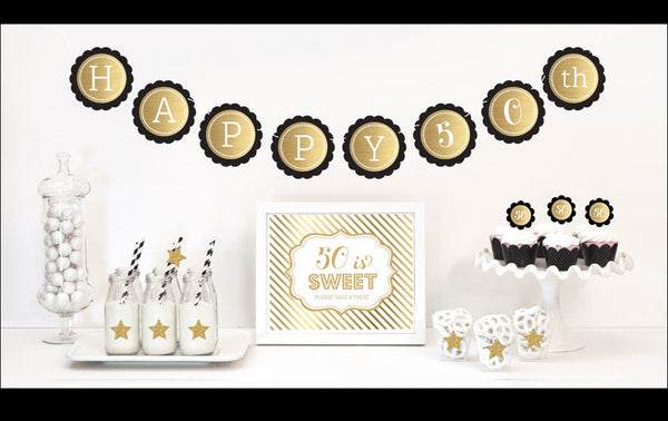 Black & Gold Milestone Birthday Party Decor Kit - Jaclyn Peters Designs