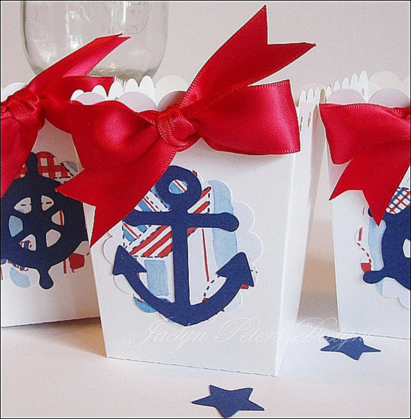 Ahoy It's A Boy Popcorn Favor Boxes - Jaclyn Peters Designs - 1