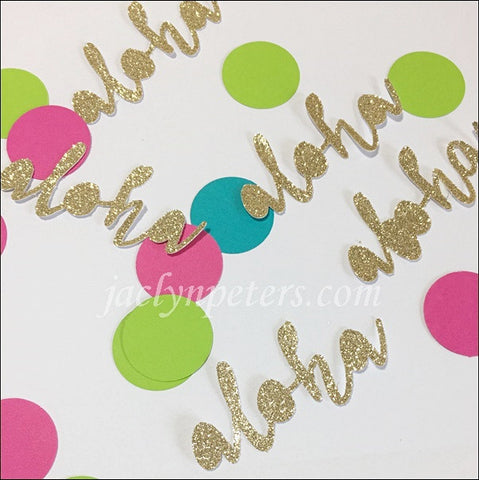 Aloha Gold Glitter Word Luau Party Confetti