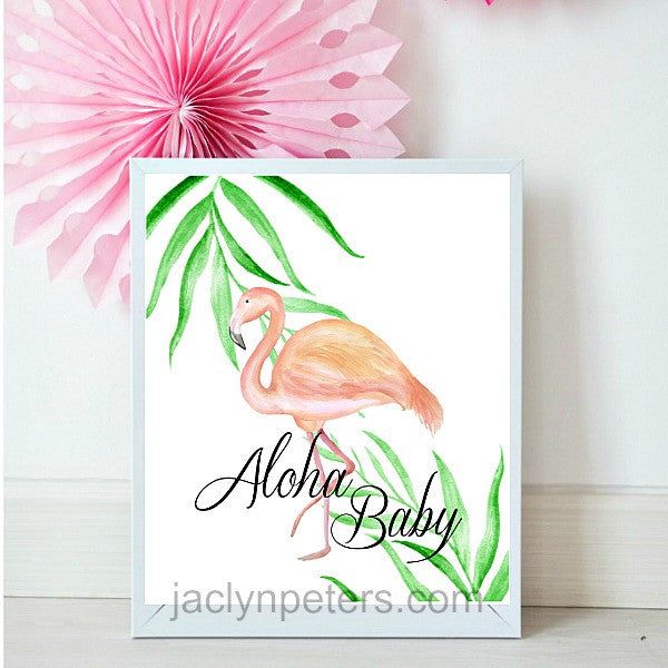 Watercolor Pink Flamingo Aloha Baby Shower Sign - Printable Instant Download