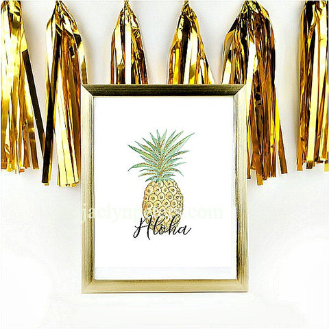 Aloha Gold Glitter Pineapple Party Sign - Printable Instant Download